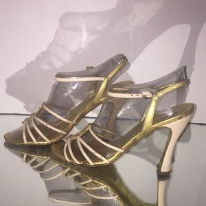 Dolce and Gabbana gold and tan slingback sandal